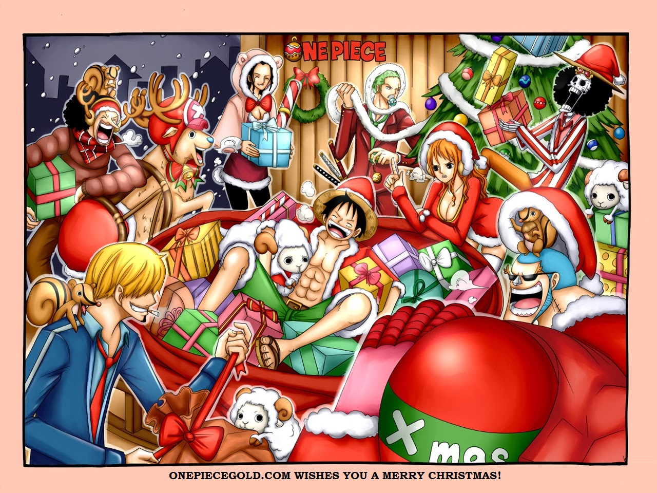 Straw Hat Pirate Christmas Party Wallpaper Anime One